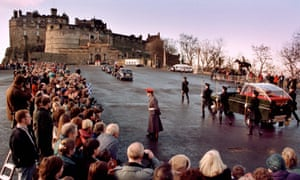 The Royal Company of Archers escorting the Stone of Destiny to Edinburgh Castle in 1999