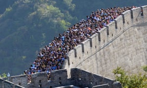 Visitors to the Great Wall of China just north of Beijing.