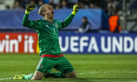 The Sweden goalkeeper Patrik Carlgren celebrates his side's goal against Portugal in the group stage of the European Under-21 Championship