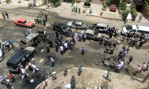Site of a bomb that targeted the convoy of the Egyptian state prosecutor, Hisham Barakat