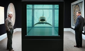Damien Hirst's The Kingdom, featuring a tiger shark in formaldehyde, at Sotheby's auction Beautiful Inside My Head Forever, in 2008.