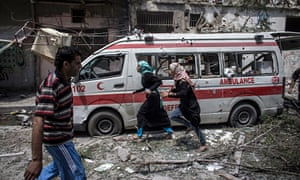 Destroyed ambulance in east Gaza City, July 2014