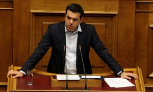 Greek prime minister Alexis Tsipras speaks during a parliamentary session in Athens, Greece, 28 June.