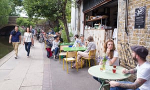 Trendy cafes and restaurants along the towpath of the Regent's Canal, Shoreditch.