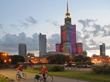 The Communist-era Palace of Culture and Science is lit up in Warsaw, Poland.