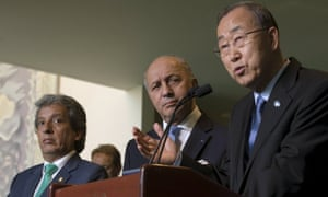 Ban Ki-moon (right) with French foreign minister and the host of the Paris climate summit Laurent Fabius (centre), and Peruvian environment minister Manuel Pulgar-Vidal, who hosted 2014's climate talks in Lima.