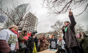 Green Party speaker at London March for Homes, 31 Jan 2015.