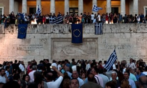 A demonstration in front of the Greek parliament in Athens.