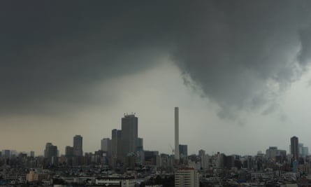 A storm hangs over Tokyo, August 2013.