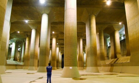The pressure-controlled water tank at The Metropolitan Area Outer Underground Discharge Channel in Kusakabe, north of Tokyo.