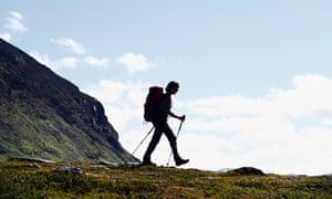 lone female hiker