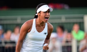 Heather Watson celebrates as she recovers to take the second set.