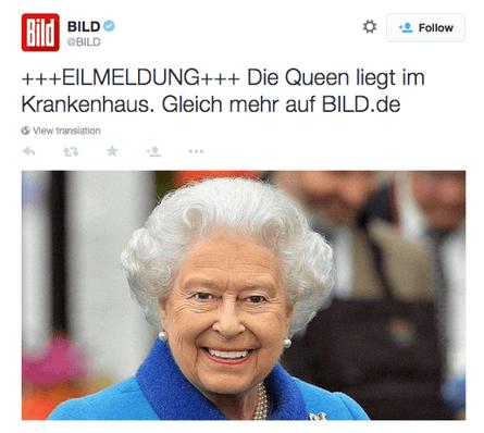 Bild's report of the Queen's hospital visit