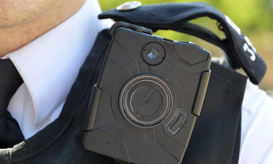 A Met officer with a body-worn camera.