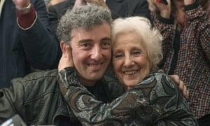 Estela de Carlotto and Ignacio hugging