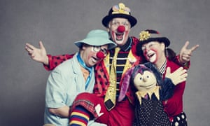 'You buzz buzz buzz, then go back out the door into reality':(from left) Andy the Clown with husband and wife Miki and Debbie.