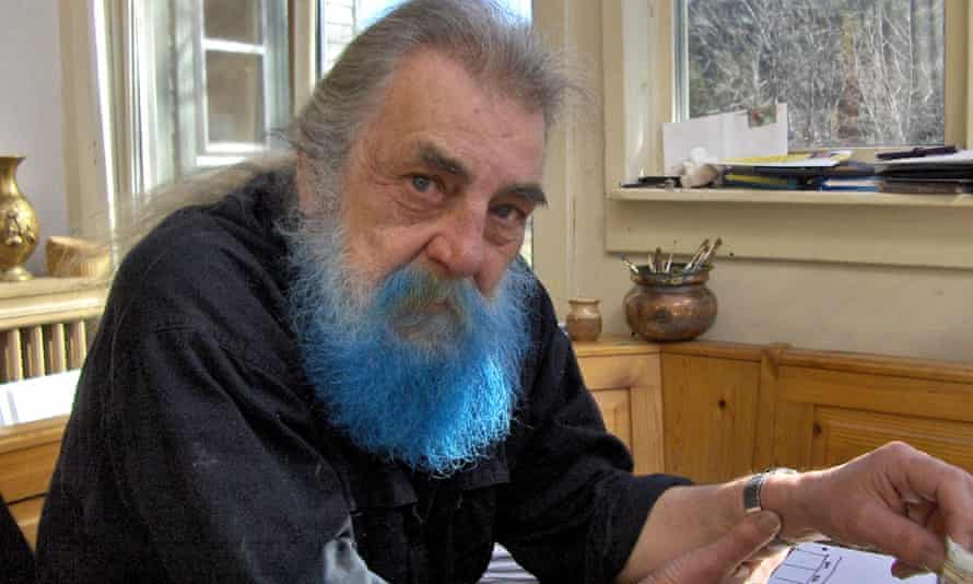 Robin Page with his striking blue beard as he produced his series of paintings Bluebeard AMuseum.