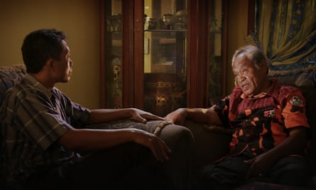 Adi Rukun, left, confronts former death squad commander Amir Siahaan in The Look of Silence.