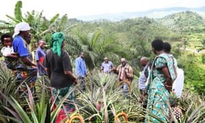Deogratias Niyonkuru (furthest from the camera) of Adisco speaks to farmers in Burundi who are taking part in one of the group's initiatives supporting sustainable agriculture.