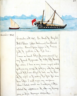 A page from Machell's journal, including a sketch of dhow in Muscat.