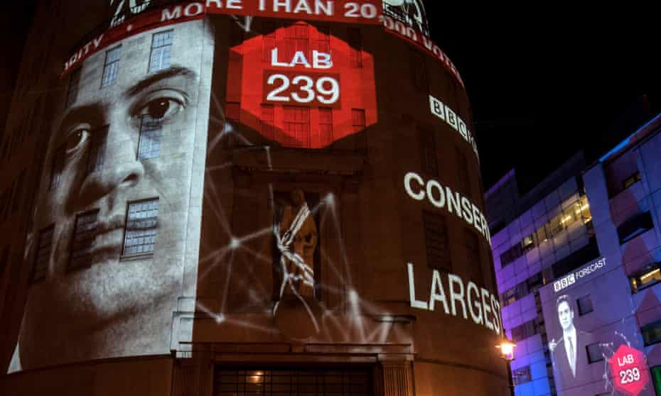 Exit polls predicting Labour's heavy defeat are projected on to BBC Broadcasting House in London  on election night.