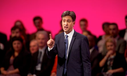 Ed Miliband delivers his speech without notes to the party's annual conference in Manchester but forgets to mention the deficit.