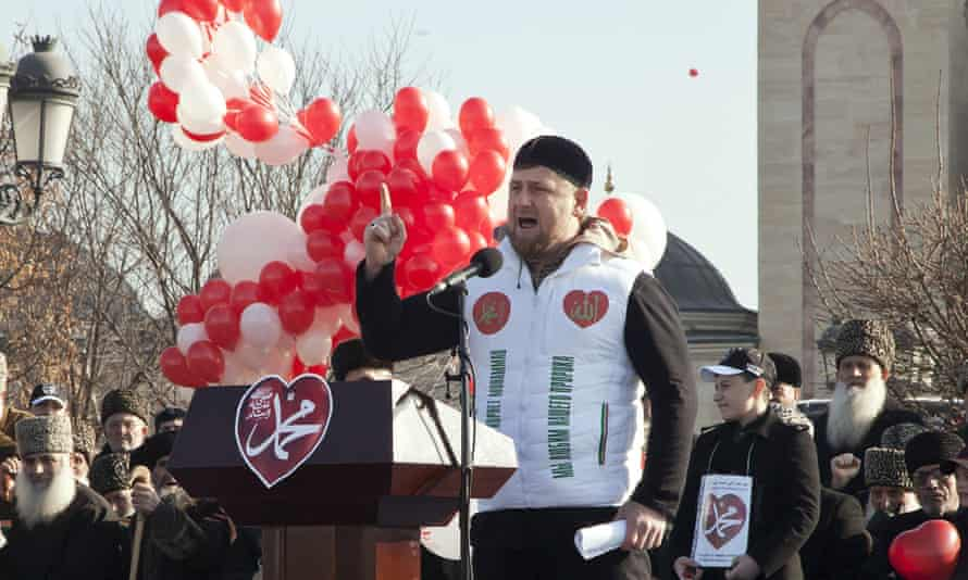 Chechen president Ramzan Kadyrov speaks at a rally earlier this year.