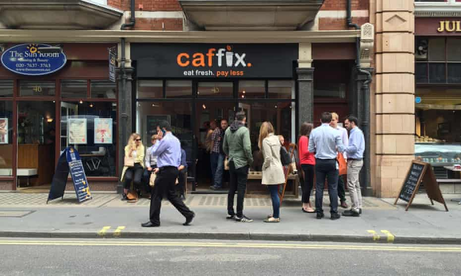 A lunchtime queue outside the new £1 cafe in central London.