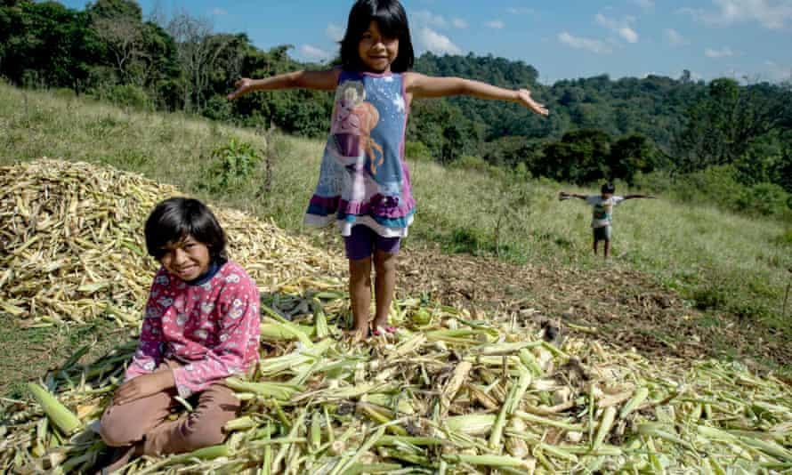 Guarani indigenous children at the Tekoa Itakupe village in the Guarani indigenous community of the Jaragúa neighborhood on 21 May 2015.