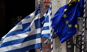 Greek and  EU flags