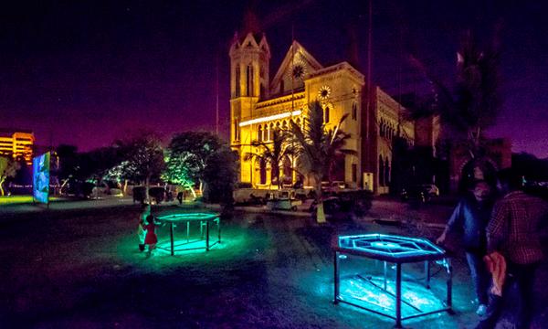 Artist Aamir Habib's LED Carrom Boards outside Frere Hall.