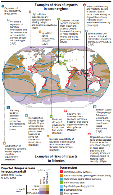 Regional changes in the physical system and associated risks for natural and human-managed systems. Source: Science; Gattuso et al. (2015) modified from IPCC WGII AR5 (2014).