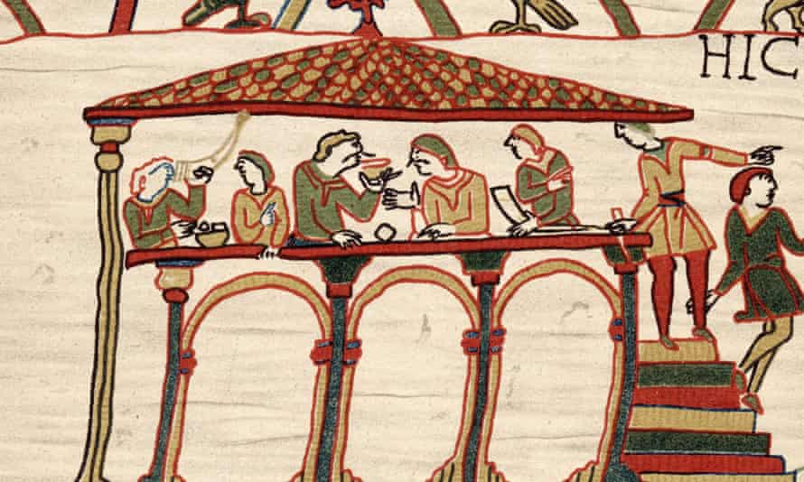 The Bayeux Tapestry depicting Harold II, the last Anglo-Saxon king of England, feasting with companions