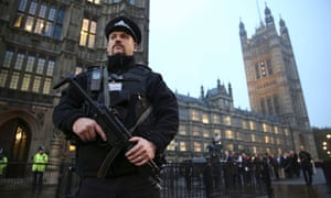 An armed police officer outside the Houses of Parliament, central London