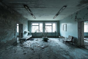 Waiting room in the remains of the hospital in Pripyat, Ukraine