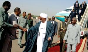 Sudan's president Omar al-Bashir at Khartoum airport.