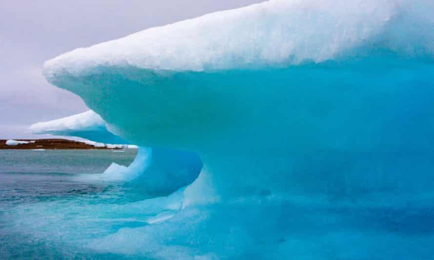 A large ice shelf melting away in Resolute Bay, Nunavut, Canada.