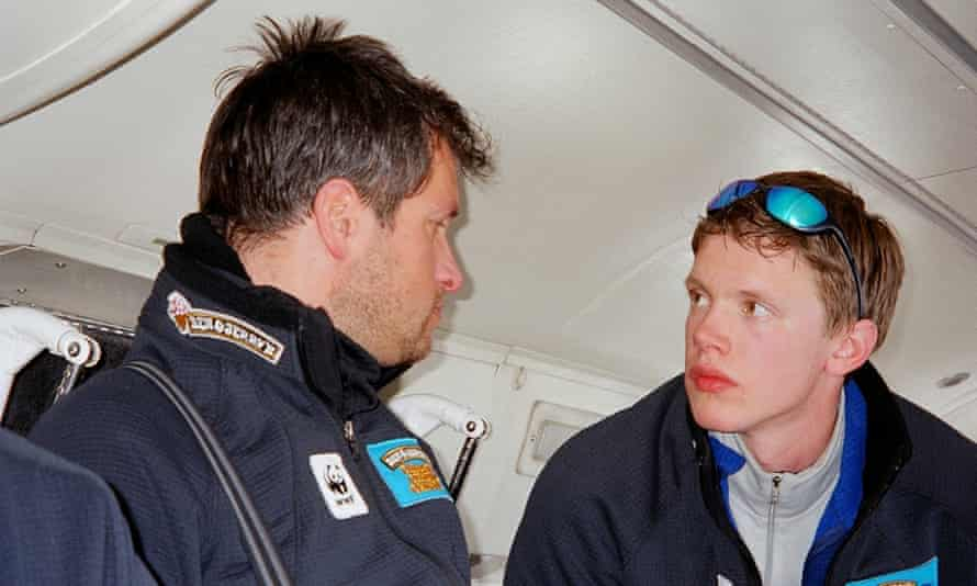 Team leaders: Marc Cornelissen (left) with Philip de Roo in discussion on an expedition in 2005.