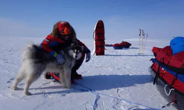 Husky challenge: with their dog Kimmik, who at first refused to pull his own sled.