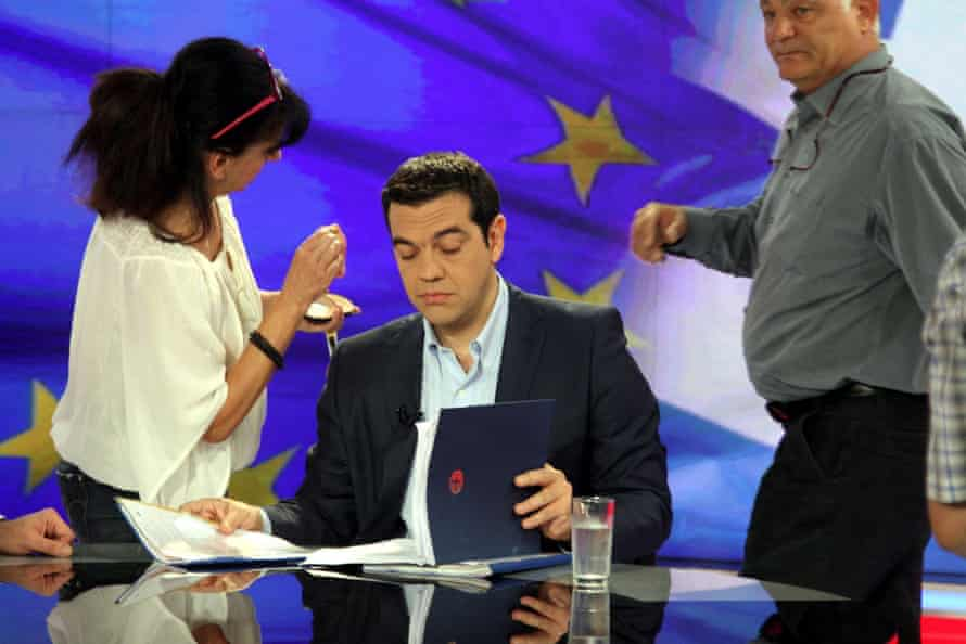 Alexis Tsipras gives an interview to Greece's state television ERT.