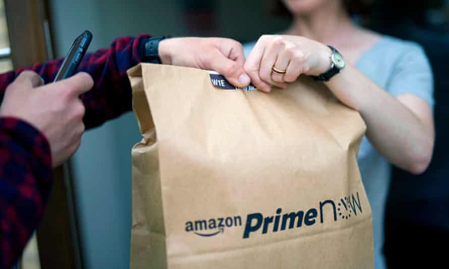 An Amazon Prime Now parcel gets delivered in East London.