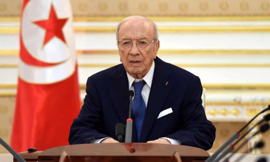 The Tunisian president, Beji Caid Essebsi, at a press conference.