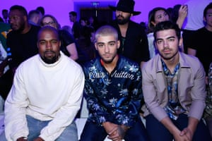 Kanye West, Zayn Malik and Joe Jonas at the Louis Vuitton menswear SS16 show.