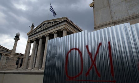 The word OXI (No) is written on a wall in front of the Greek Academy in Athens, Greece