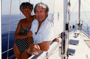 Former Blue Peter presenter John Noakes and wife Vicky on their boat off the coast Of Majorca Spain