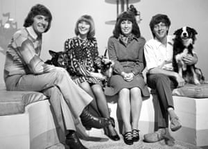 Blue Peter presenters in 1972 - Peter Purves, Lesley Judd, Valerie Singleton and John Noakes with his dog 'Shep