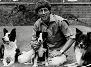 John Noakes with Border Collie puppies on Blue Peter TV show in 1976
