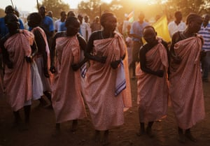 Women from the Bari community perform a traditional dance in Juba, during celebrations on the eve of South Sudan's declaration of independence, 8 July 2011.