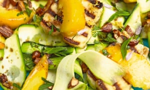 Thomasina Miers' grilled halloumi with courgette, peach and burnt-butter almonds