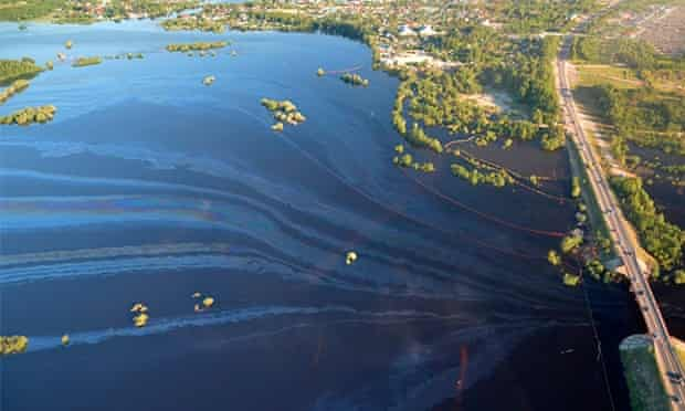 The pipeline leak has contaminated floodwater from the Ob river.